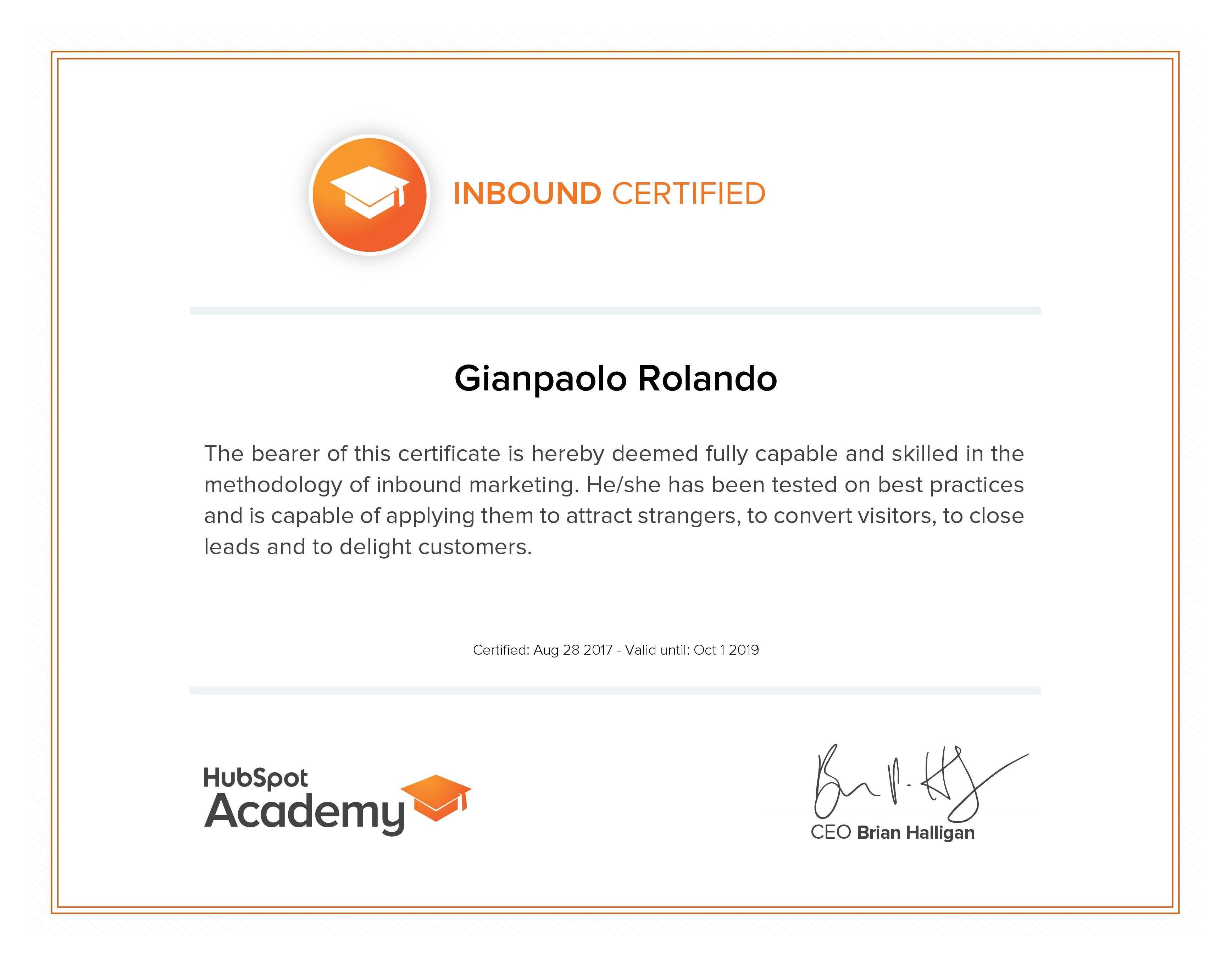 Gianpaolo Rolando Certificazione InBound HubSpot Accademy