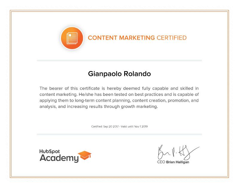 Gianpaolo Rolando Certificazione Content Marketing HubSpot Accademy