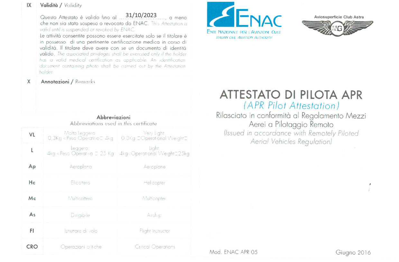 ENAC Attestato di Pilota APR